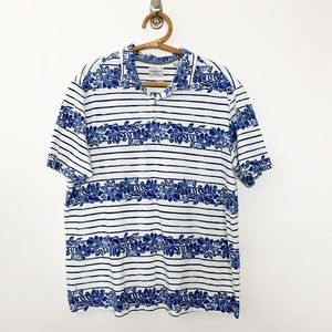 Tommy Bahama Island Crafted Floral Striped Polo XL
